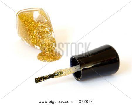 Gold Enamel On White