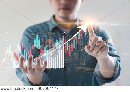 Business People Analyze Financial Data Chart Trading Forex, Investing In Stock Markets, Funds And Di