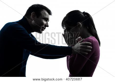 one caucasian couple woman crying man consoling  in silhouette studio isolated on white background