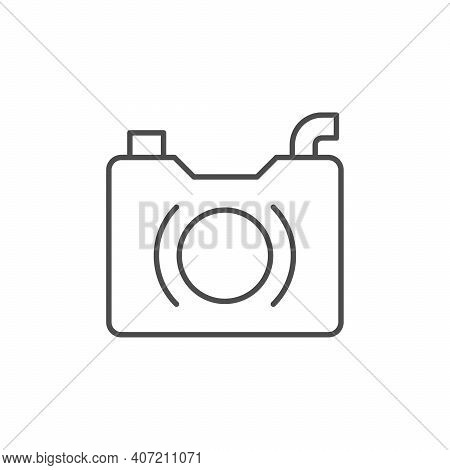 Drainage Pump Line Outline Icon Isolated On White. Vector Illustration