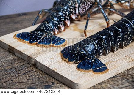 Fresh Caught  Lobster On Wooden Table  Ready To Cook