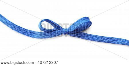 Blue Shoe Lace Tied In Bow Isolated On White, Top View