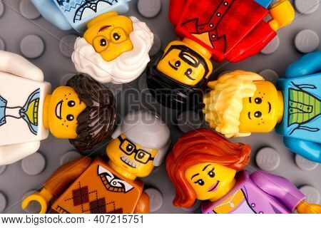 Tambov, Russian Federation - January 17, 2021 Lego Minifigures - Three Generations Of A Family. Gray