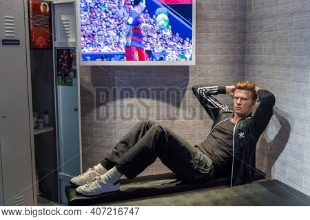 AMSTERDAM, NETHERLANDS - APRIL 25, 2017: David Beckham wax statue in Madame Tussauds museum on April 25, 2017 in Amsterdam Netherlands.
