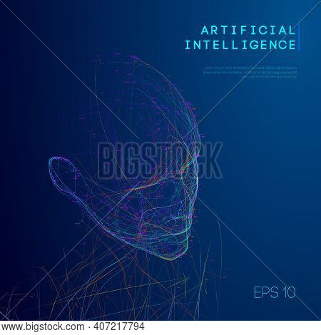 Artificial Intelligence Abstract Technology Communication Design. Woman Head Bigdata Abstract Vector