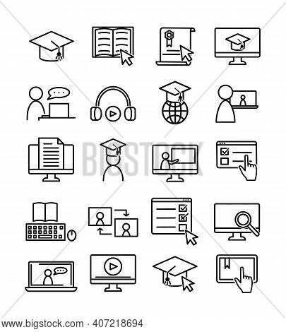 Sat Of Online Education Icons. Pictograms For Web. Line Stroke. Isolated On White Background. Vector
