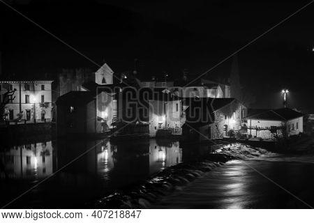 Panoramic Night View Of Borghetto Sul Mincio, Verona. Black And White Photos. One Of The Most Beauti