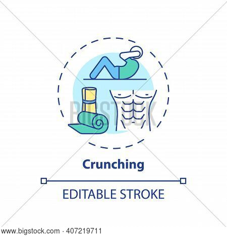 Crunching Concept Icon. At-home Workout Session Idea Thin Line Illustration. Building Abdominal Musc