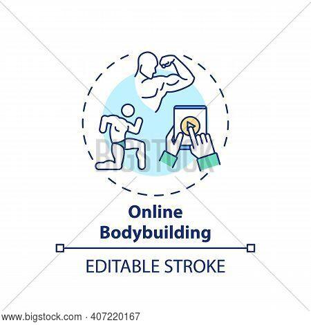 Online Bodybuilding Concept Icon. Remote Workout Program Idea Thin Line Illustration. Building Lean