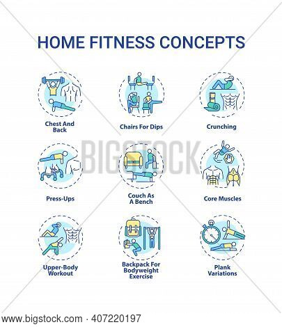 Home Fitness Concept Icons Set. Physical Training Session Idea Thin Line Rgb Color Illustrations. Co
