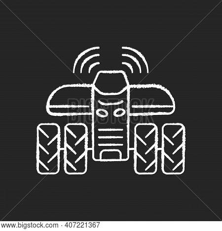 Driverless Tractors Chalk White Icon On Black Background. Autonomous Farm Vehicle. Agricultural Tech