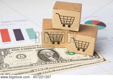 Shopping Cart Logo On Box With Us Dollar Banknotes And Graph, Banking Account, Investment Analytic R
