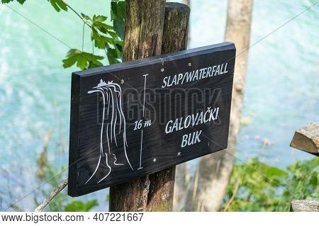 Plitvice, Croatia - Aug 11, 2020: Sign Of Lake Inside Plitvice Lake In Summer