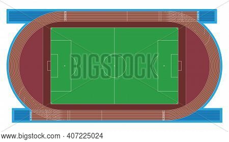 Vector Illustration Of Sports Gymnasium, Soccer Stadium And Running Track With Measurements Similar