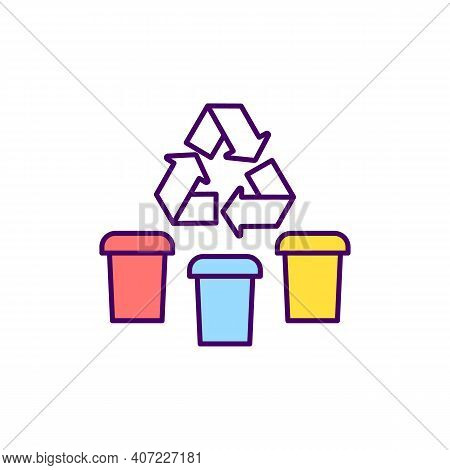 Waste Segregation Rgb Color Icon. Separating Waste For Facilitate Recycling. Dividing Trash Into Dry