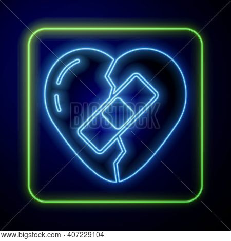 Glowing Neon Healed Broken Heart Or Divorce Icon Isolated On Blue Background. Shattered And Patched