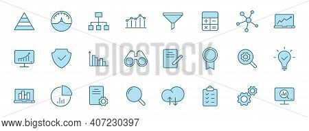 Data Analytics Linear Vector Icons In Two Colors Isolated On White Background. Data Analytics Blue I