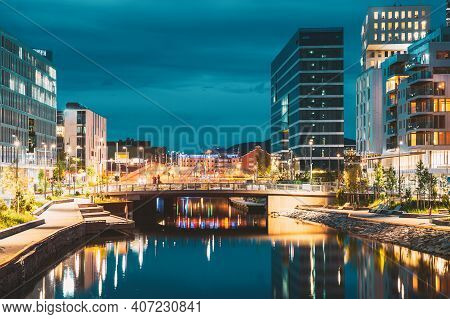 Oslo, Norway. Night View Embankment And Residential Multi-storey House In Gamle Oslo District. Summe
