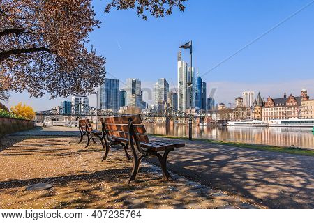 Skyline With Skyscrapers Of Frankfurt. Financial District With Commercial Buildings On The Day With