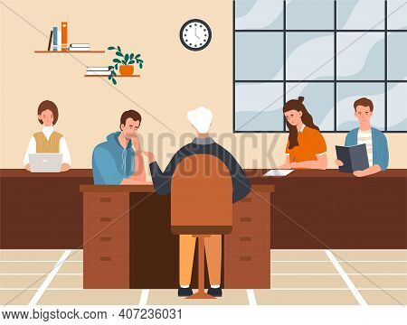 Male And Female Characters Are Passing The Exam. Young Men And Women Are Sitting At The Desks And Ge