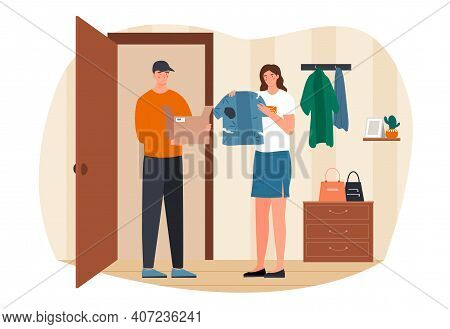 Young Female Character Received A Parcel With Defective Clothes. Male Courier Delivered Torn And Dir