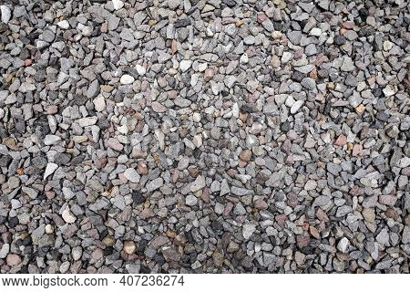 Stone Pattern Abstract Ravel Texture Small Stones, Little Rocks, Pebbles In Many Shades Of Grey, Whi