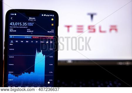 Kathmandu, Nepal - February 9 2021: Bitcoin Value In Usd On A Smartphone Against The Tesla Logo In T