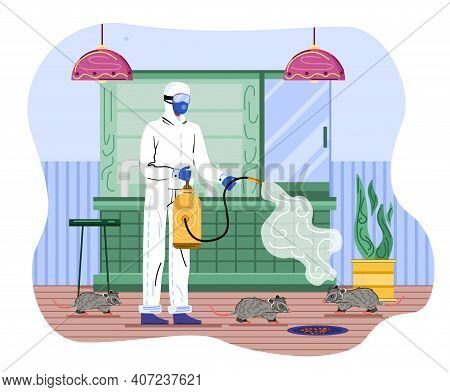 Male Character In Chemical Protection Suit Releasing Agents Onto Rats. Concept Of Pest Control And G