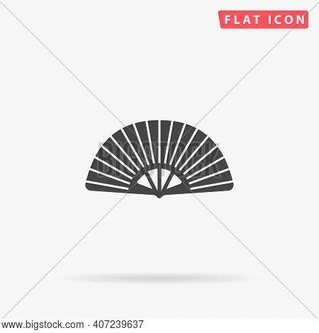 Japanese Folding Hand Fan Flat Vector Icon. Hand Drawn Style Design Illustrations.