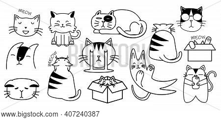 Bundle Of Adorable Cats Sleeping, Stretching Itself, Playing With Ball. Cute Cats Faces. Hand Drawn