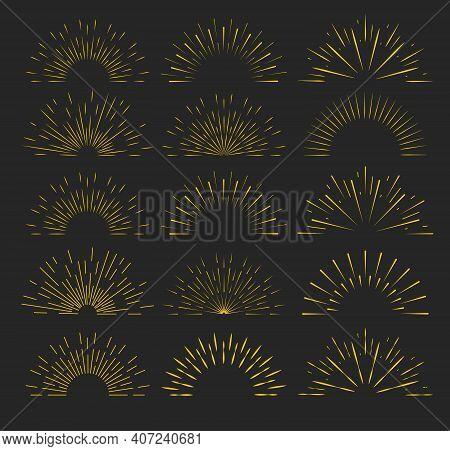 Retro Gold Sun Burst Shapes. Vintage Light Starburst Logo. Graphic Burst Of Sunshine Light.