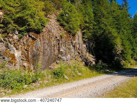 Gravel Road Rock - A Summer Rock Scene Along Fr2207 - Cascade Range - Near Detroit, Or
