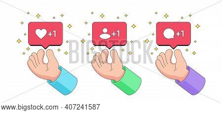 Human Cartoon Hand Delivers Bubble Notification With Like, Follower And Comment Icon. Counter Of Lik