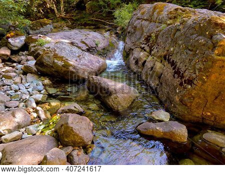 Rocky Creek Scene - A Summer Scene Along Cedar Creek - Cascade Range - Near Detroit, Or
