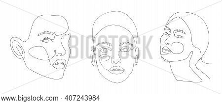 Continuous Line Drawing Of Portrait Of A Beautiful Womans Faces With Abstact Shapes. Beauty Minimal