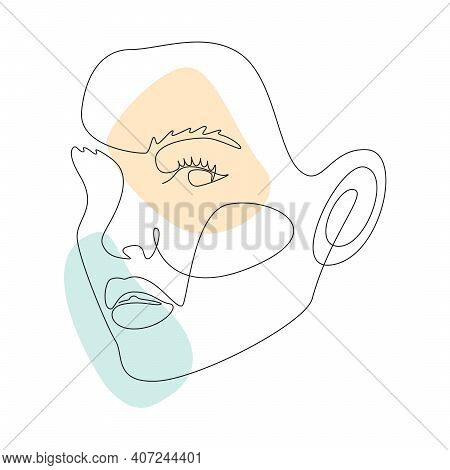 Continuous Line Drawing Of Portrait Of A Beautiful Womans Faces With Abstact Shapes. Minimal Style P