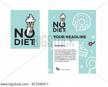 International No Diet Day. Logo And Poster Concept. Vector Illustration. Logotype Design. . Vector I