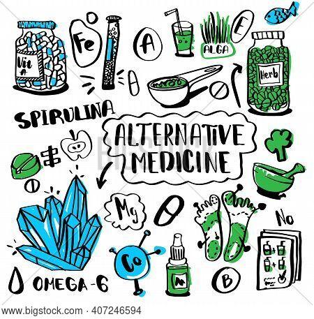 Alternative Medicine Doodle Set. Sketch Collection Nutrition And Biologically Active Additives. Home