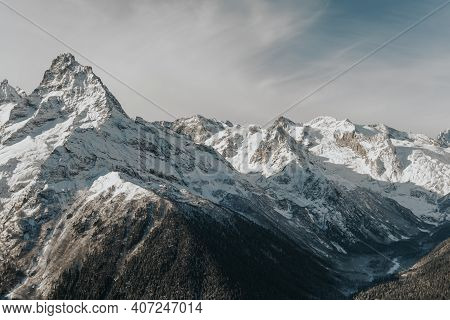 Sunny Weather In The Mountains. Beautiful Landscape Of Rocky Mountain Peaks.