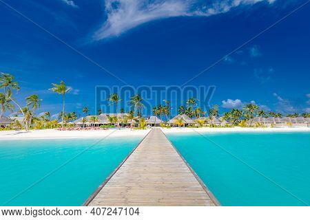 Beautiful Tropical Maldives Island With Beach Sea And Coconut Palm Tree On Blue Sky For Nature Holid