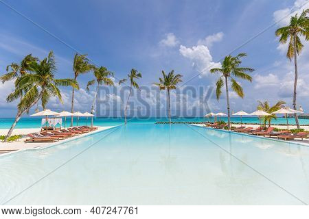 Luxury Infinity Pool With Loungers And Palm Trees Over White Sand. Perfect Summer Beach Landscape, R
