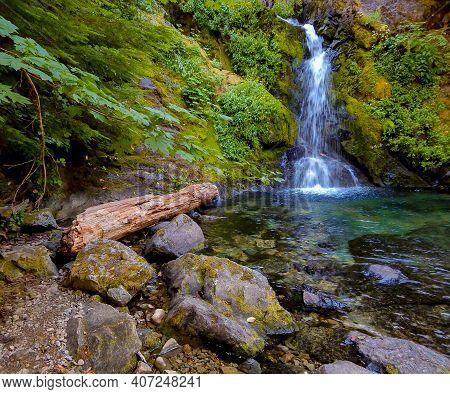 Falls Pool - A Summer Scene At Sullivan Creek Falls - Cascade Range - Near Detroit, Or
