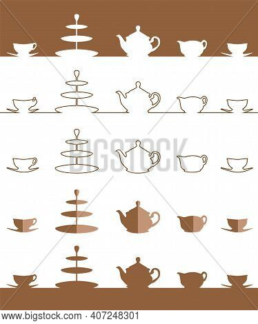 Tea Pot And Cup Simple Flat Icon Set. Vector Illustration Set. A Silhouette Of A Teapot, Milk Jug, C