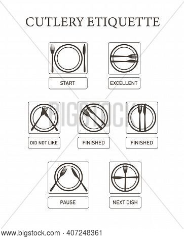 Table Manners. Cutlery Etiquette. Vector Icon Set Simple Flat. Eating Rules. Fork Knife On Plate. Fi