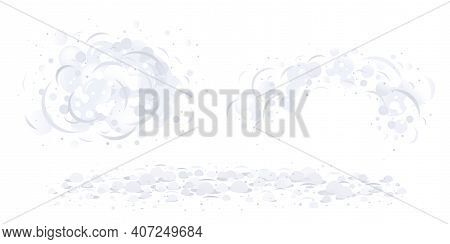 Dust Clouds On Air Isolated Illustration, Dirty Air With Small Particles Of Dust, Gray Dust Cartoon
