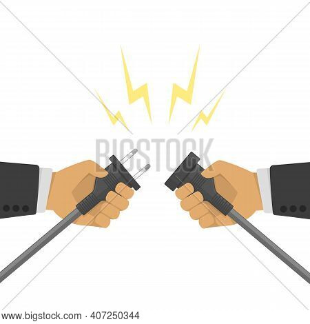 Hands Disconnecting Electrical Plug. Business Connection Concept. Partnership. Two Hands Trying To D
