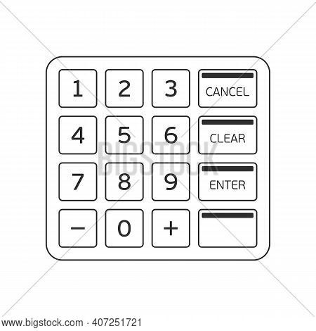 Atm Keypad Isolated On White. Keyboard Buttons Of Automated Teller Machine. Vector Illustration Eps