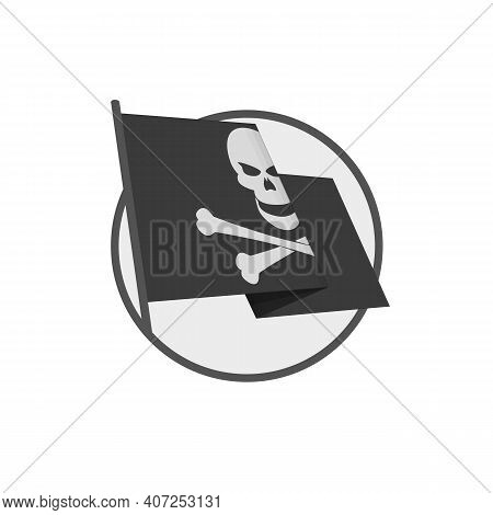 Two Crossed Pirate Flag With Skull On Isolated White Background. Waving Pirate Flag Jolly Roger In F