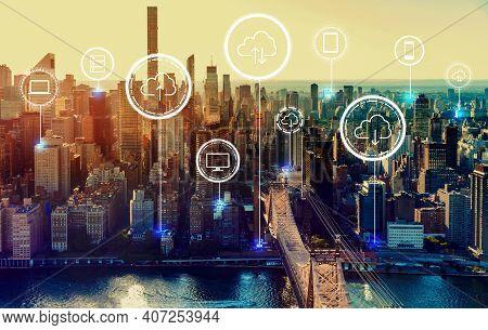 Cloud Computing With The New York City Skyline Near Midtown