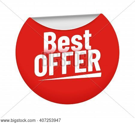 Best Offer Sticker. Red Badge With Bent Edge And Discount Prices. Sticky Circle Element For Promotio